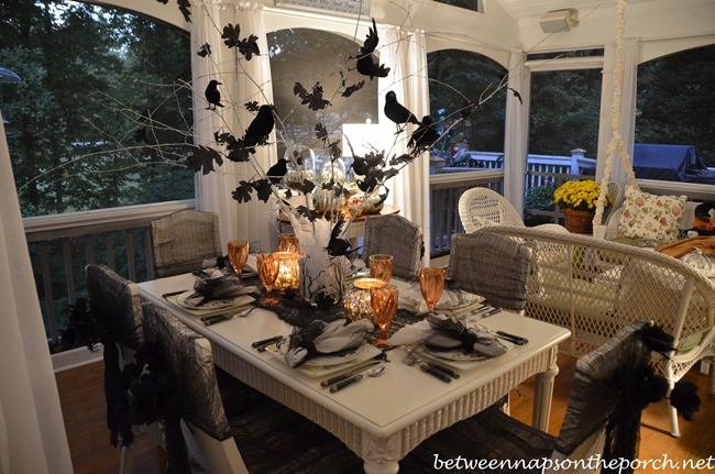 Halloween Table Setting With Crow Or Raven Centerpiece 1