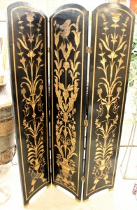 Black and gold room screen available at Upscale Consignment