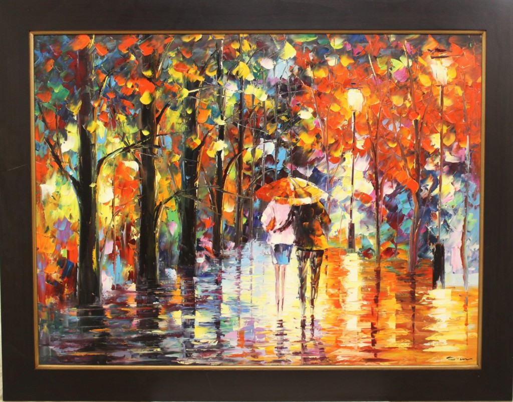 Couple Walking in Autumn Rain Oil Painting